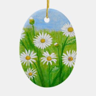 white daisies ceramic ornament