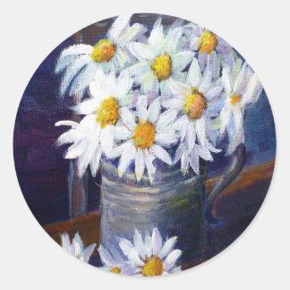 White daisies classic round sticker