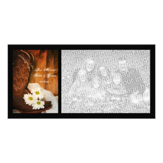 White Daisies Cowboy Boots Country Just Married Photo Card