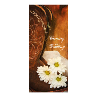 White Daisies Cowboy Boots Country Wedding Program