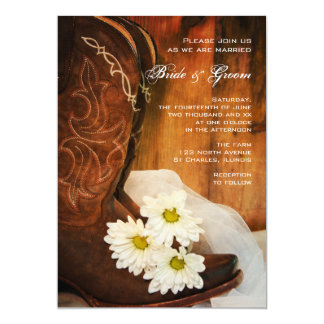 White Daisies Cowboy Boots Country Western Wedding 5x7 Paper Invitation Card