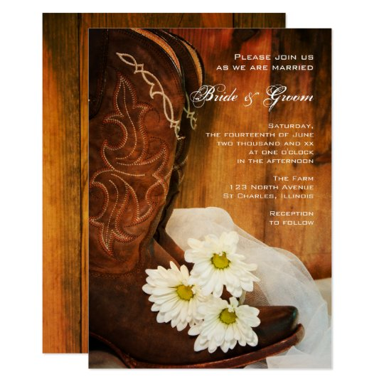 white daisies cowboy boots country western wedding card | zazzle, Wedding invitations