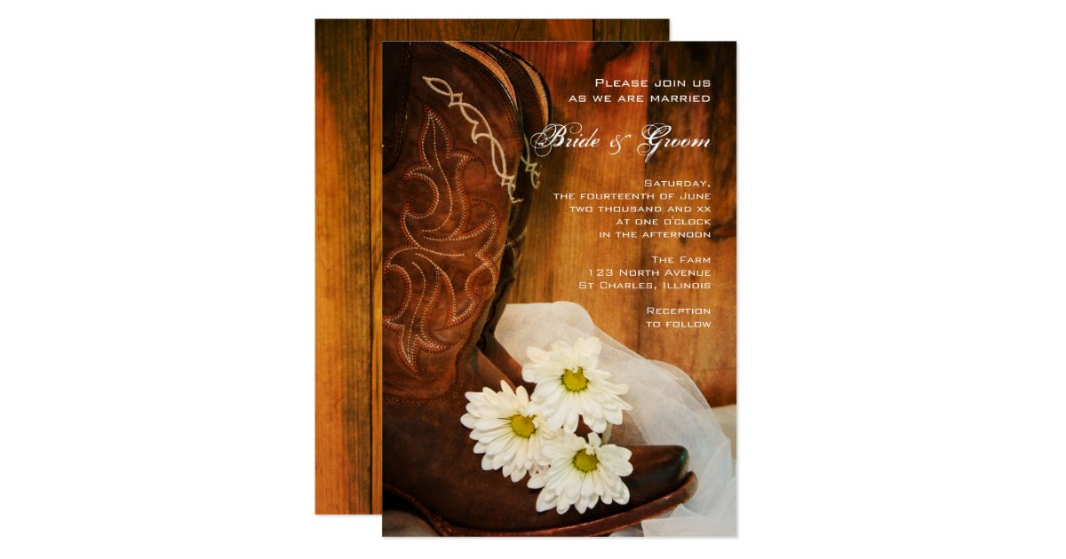 Boots Wedding Invitations: White Daisies Cowboy Boots Country Western Wedding