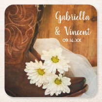 White Daisies Cowboy Boots Country Western Wedding Square Paper Coaster