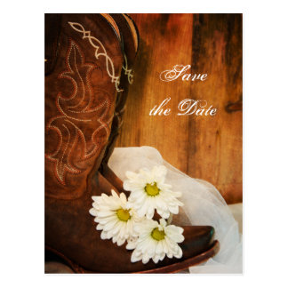 White Daisies Cowboy Boots Wedding Save the Date Postcard