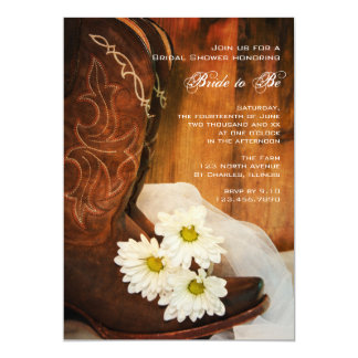 White Daisies Cowboy Boots Western Bridal Shower 5x7 Paper Invitation Card