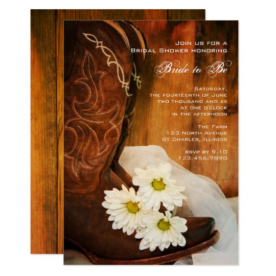 white daisies cowboy boots western bridal shower invitation