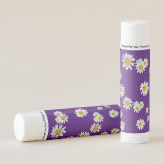 White Daisies Cust. BG Purple Lip Balm