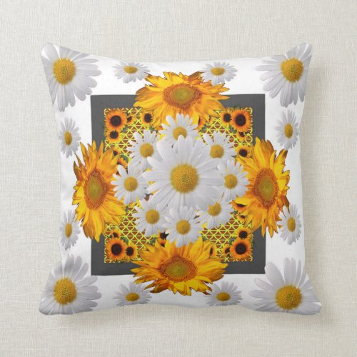 WHITE DAISIES FLORAL ABSTRACT & YELLOW SUNFLOWERS THROW PILLOW