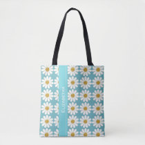 White Daisies floral patterns personalize Tote Bag