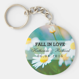 White Daisies Flower Wedding Favor Keychain