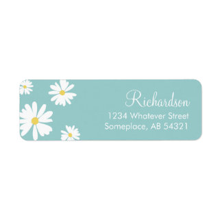 White Daisies Flowers Aqua Background Labels