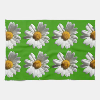 white daisies flowers pattern on green hand towels