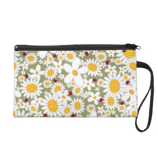White Daisies Flowers Red Ladybugs Wristlet Bag