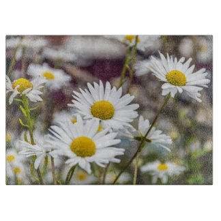 White daisies glass cutting board
