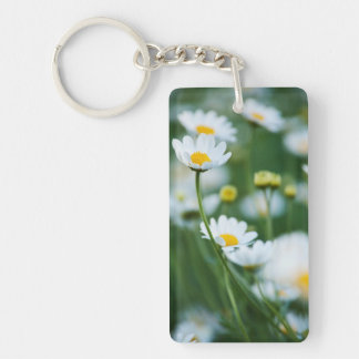 White Daisies in a Field - Customized Daisy Keychain
