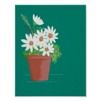 White Daisies in Terra Cotta Watercolor Painting Poster