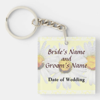 White Daisies in the Rain Wedding Products Square Acrylic Key Chain