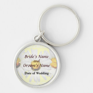 White Daisies in the Rain Wedding Products Keychain