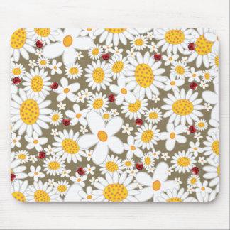 White Daisies & Ladybugs Fun Custom Gift Mousepad