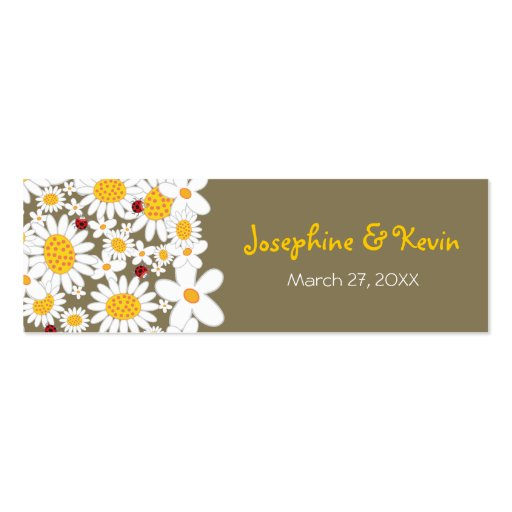 White Daisies Ladybugs Thank You Favors Gift Tag Business Card Templates