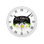 White Daisies on a Black Chalkboard Round Clock