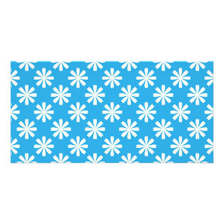 White daisies on baby blue background card