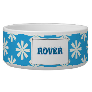 White daisies on baby blue background dog food bowl