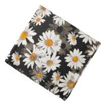 White Daisies on Black Floral Pattern Bandana