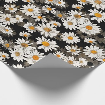 Wedding Themed White Daisies on Black Wrapping Paper