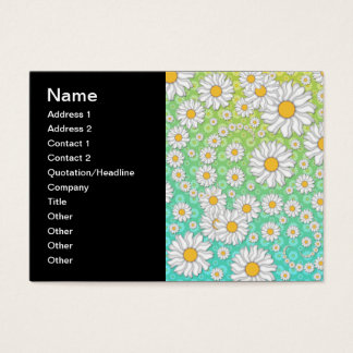White Daisies on Blue Green Background Business Card