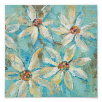 White Daisies on Blue Poster