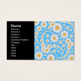White Daisies on Bright Blue Background Business Card