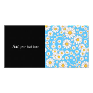 White Daisies on Bright Blue Background Card