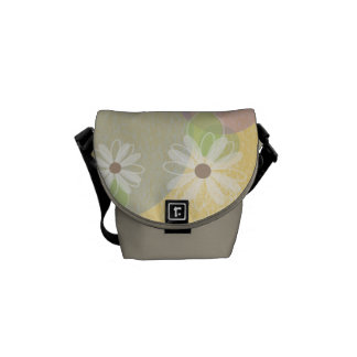 White Daisies on Gold, Green & Tan Courier Bag