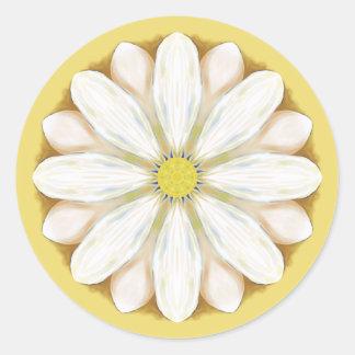 White Daisies on Golden Yellow Classic Round Sticker