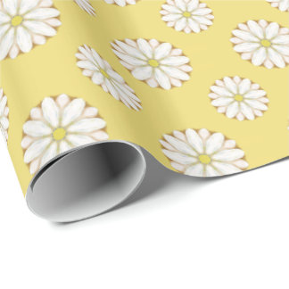 White Daisies on Golden Yellow Wrapping Paper