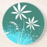 White Daisies on Green and Blue Beverage Coasters