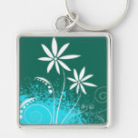 White Daisies on Green and Blue Key Chains