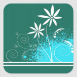 White Daisies on Green and Blue Square Stickers