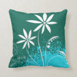 White Daisies on Green and Blue Throw Pillows