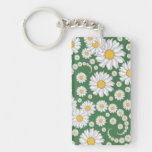 White Daisies on Green Background Key Chain