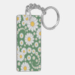 White Daisies on Green Background Acrylic Key Chains