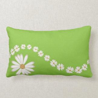 White Daisies on Green Lumbar Throw PIllow