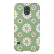 White Daisies on Green Pattern Galaxy S5 Case