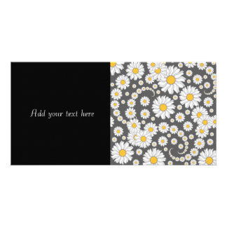 White Daisies on Grey Background Card