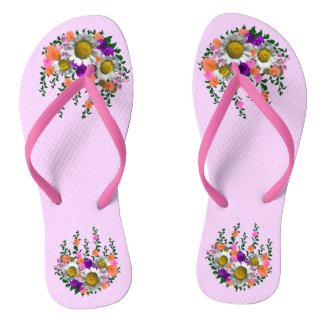 White Daisies on Lavender Flip Flops