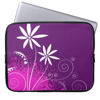 White Daisies on Purple Computer Sleeve