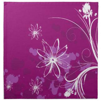 White Daisies on Purple Napkin