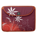 White Daisies on Red and Orange Sleeves For MacBooks